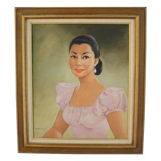 Mid-Century Female Portrait Oil Painting