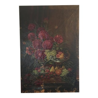 Large 19th Century Still Life Oil on Canvas