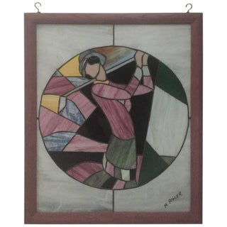 Signed Art Deco Stained Glass Woman Golfer