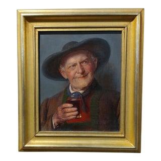 19th Century Happy Wine Drinker German Oil Painting