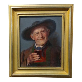 19th Century Happy Wine Drinker German Oil Painting