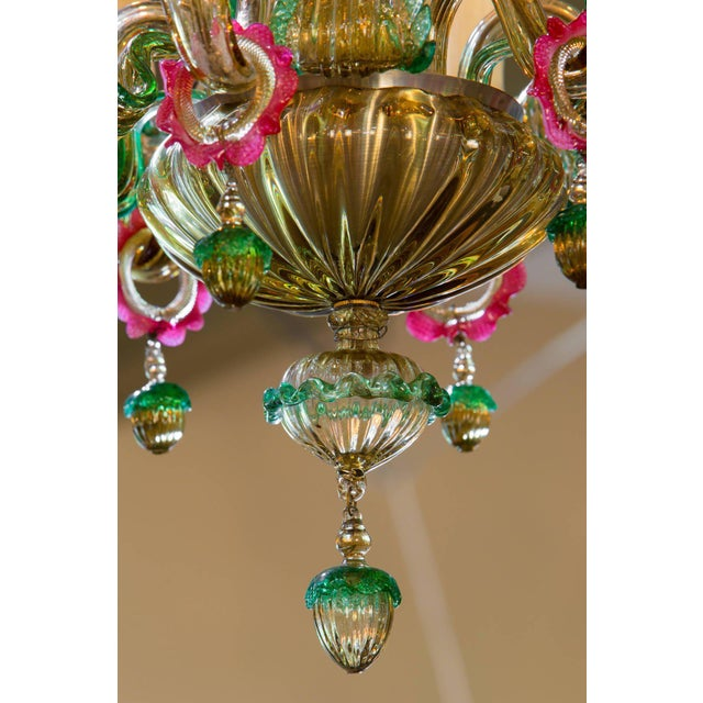 Image of Colorful Vintage Murano Glass Chandelier circa 1920