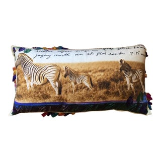 Peter Beard Inspired Anthropologie African Safari Zebra Pillow
