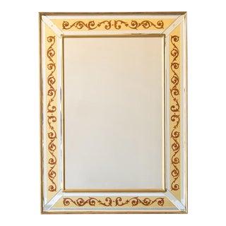 Vintage Italian Jansen Style Reverse Painted Florentine Scroll Mirror circa 1950 (34″w x 46″h)
