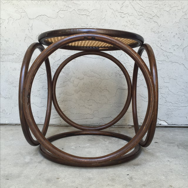 MCM Thonet Bentwood & Cane Ottoman or Side Table - Image 4 of 10