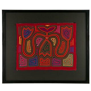 """Vintage Framed Panama Kuna Mola """"Tulips 1"""""""