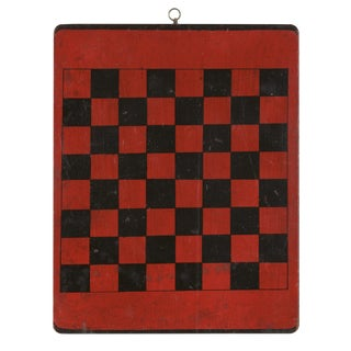 AMERICAN CHECKER BOARD WITH GREAT POLYCHROME PAINTED SURFACE IN BRILLIANT LIPSTICK RED AND BLACK, CA 1870-1880