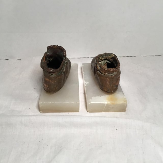 Antique Copper & Marble Baby Shoe Bookends - A Pair - Image 4 of 11
