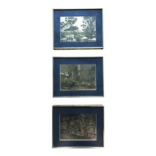 Lionel Barrymore Gold Framed Etchings - Set of 3