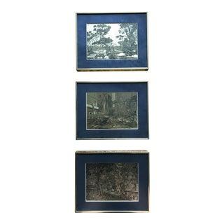 Lionel Barrymore Gold Framed Etchings - Set of 3