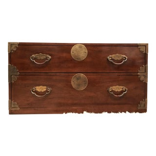 Campaign Chinoiserie 2 Drawer Brass Hardware Chest