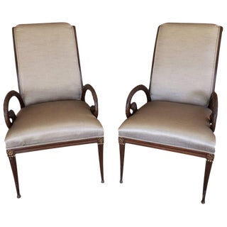Carved Walnut and Upholstered Armchairs - A Pair
