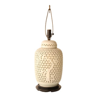 Reticulated Porcelain Blanc De Chine Table Lamp