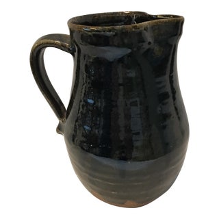 Dark Glazed Earthenware Pitcher