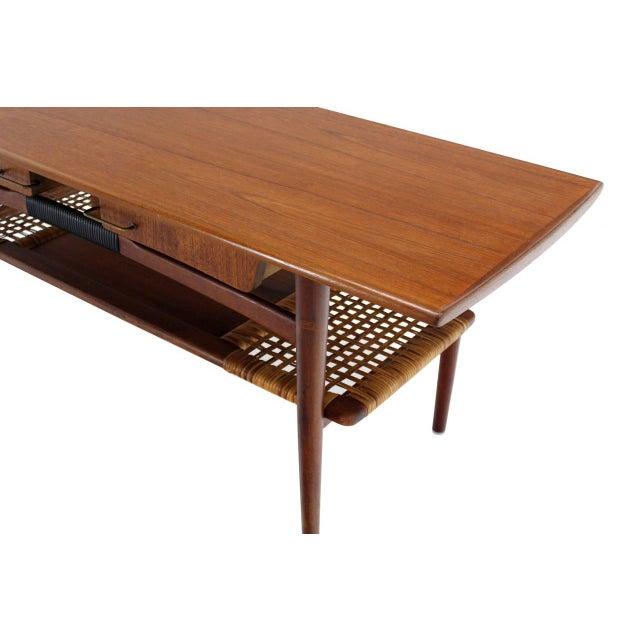Fine Danish Modern Teak Coffee Table Cane Shelf Rolled Edges 4 Storage Drawers Decaso