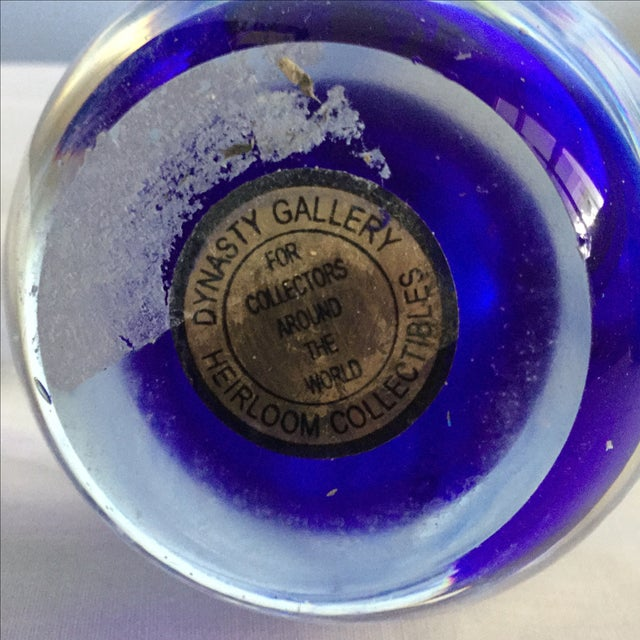 Image of Lead Crystal Cobalt Swirl Paperweight