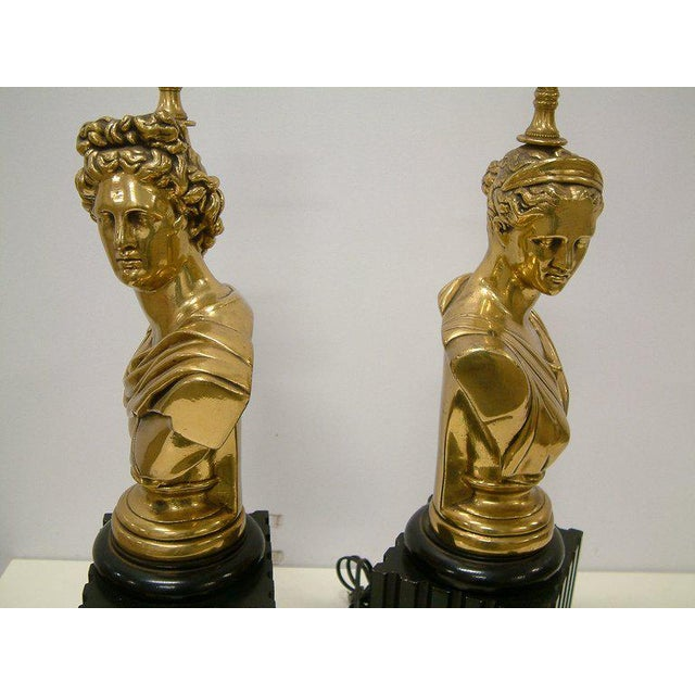 Brass Classical Bust Lamps - A Pair - Image 5 of 8