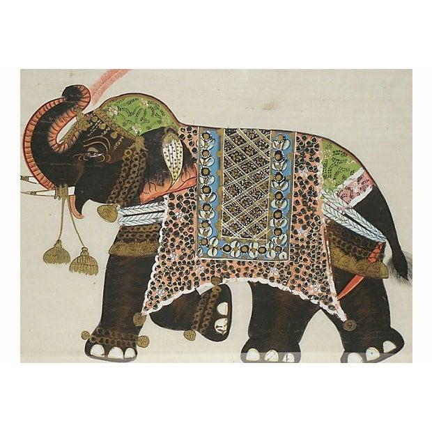 Indian Elephant Painting on Silk - Image 4 of 7