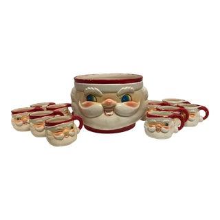 Vintage 1960's Howard Holt Santa Head Bowl & Mugs - Set of 12