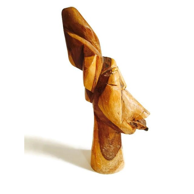 Mid Century Solid Wood Carved African Head Statue - Image 2 of 7