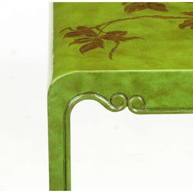 Three Embossed & Parcel Gilt Rich Jade Green Nesting Tables - Image 10 of 10