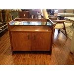 Image of Vintage Modern Nightstand with Glass Shelf
