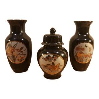 Asian Black Vases & Matching Lidded Urn- Set of 3