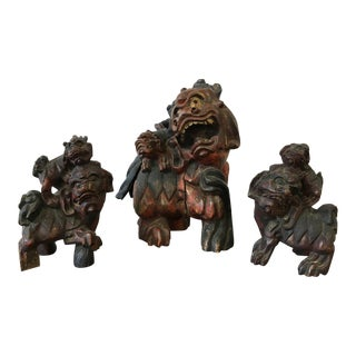 Family of Chinese Foo Dog Sculptures