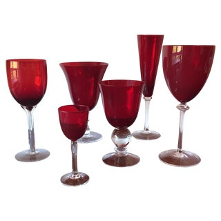 Hand-Blown Mixed Red Glass Stems - Set of 6