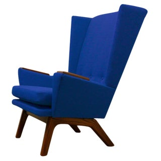 Blue Upholstered Wingback Chair
