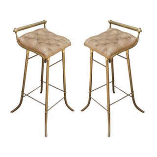 Pair of 1950s French Leather and Brass Bar Stools