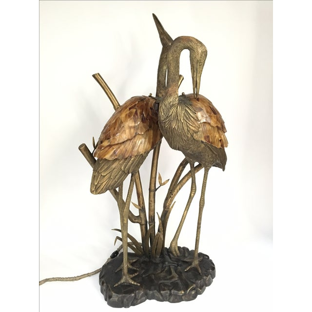 Maitland Smith Brass Bronze Penshell Cranes Heron Birds