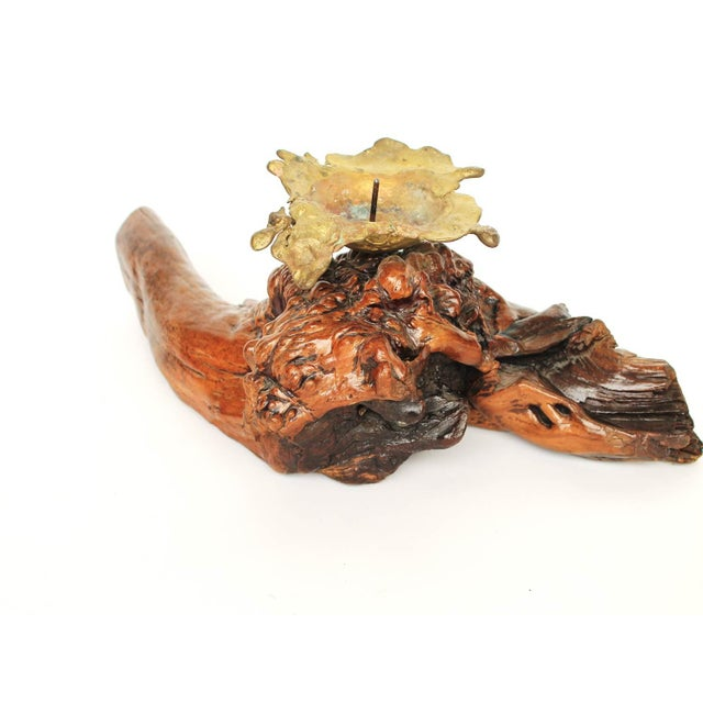 Driftwood W/ Cast Brass Candle Holder - Image 5 of 5