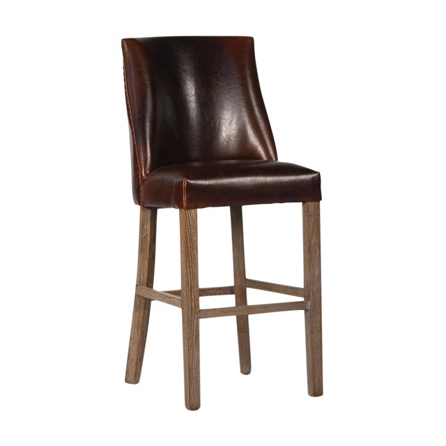 Image of Leather Upholstered Bar Stool