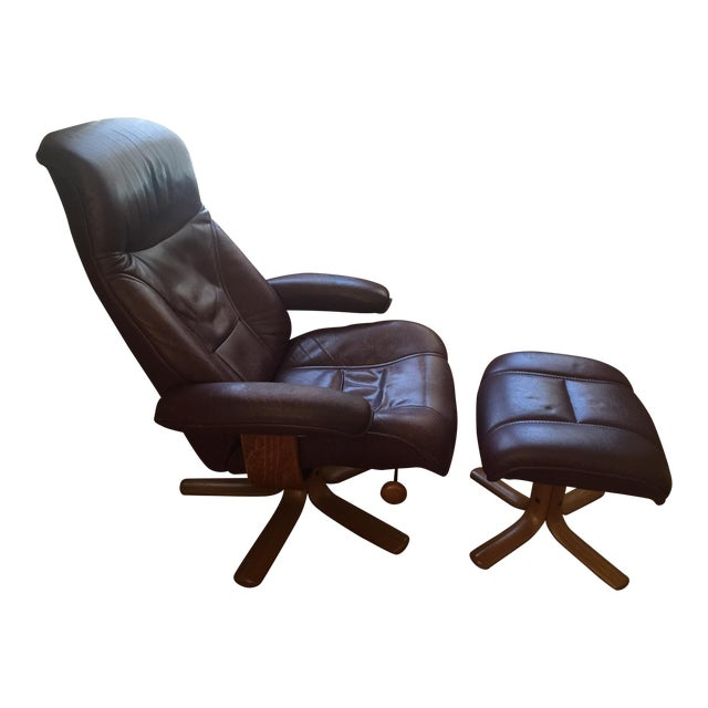 Hjellegjerde Mobler Reclining Lounge Chair and Ottoman - Image 1 of 11