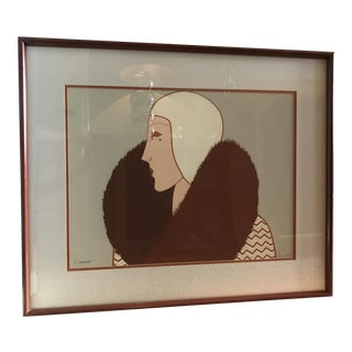 Art Deco Screen Print of a Woman