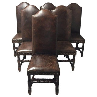 Set of Six Very Handsome Distressed Leather and Walnut Dining Chairs