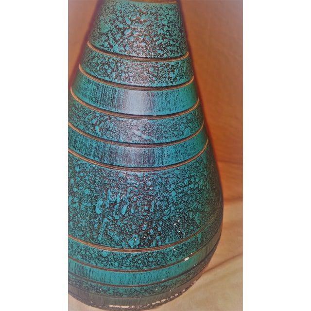 Mid-Century Ceramic Turquoise & Teak Lamps - A Pair - Image 7 of 9