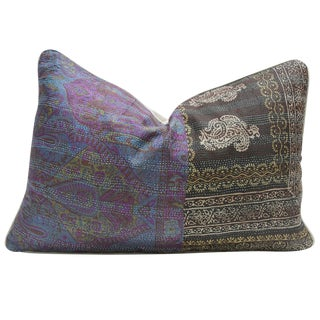 Regal Bengal Silk Kantha Pillow