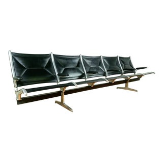 Ray Eames for Herman Miller Vintage Black Vinyl Tandem Sling Airport Bench