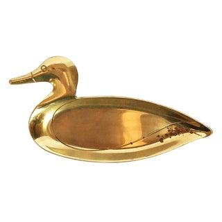 Vintage Brass Duck Change Dish