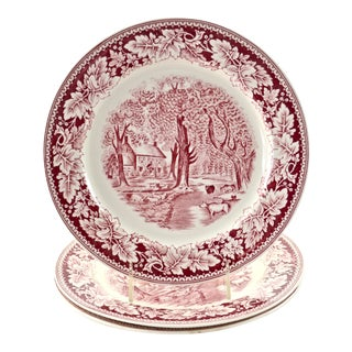 Red Laughlin Porcelain Plates - Set of 3