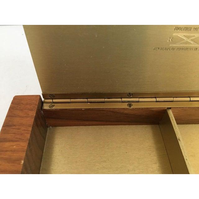 Mid-Century Modern Gold Aluminum and Wood Box - Image 6 of 11