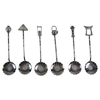 950 Silver Lotus Bowl Demitasse Cased Spoon Set