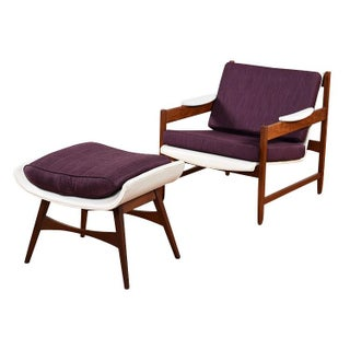 Restored Purple Mid-Century Chair with Ottoman