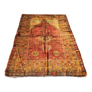 Antique Turkish Oushak Prayer Rug - 4' X 5'7""