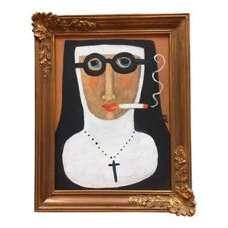 """""""Smoking Nun"""" Contemporary Folk Painting"""