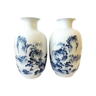Large Hand-Painted B & W Vases, Pair