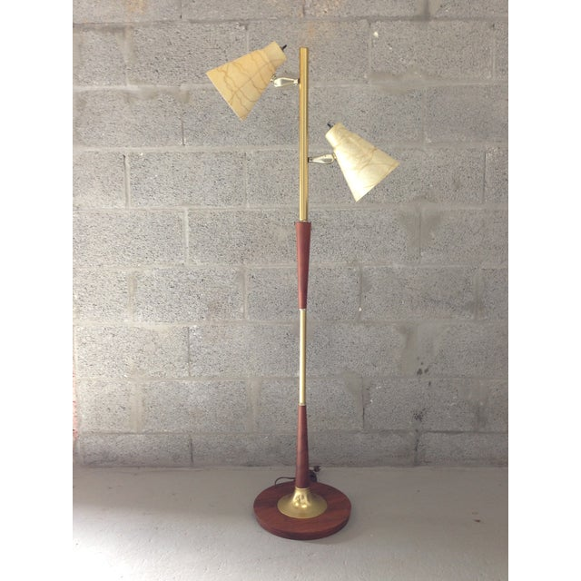 Mid-Century Modern Wood & Brass Floor Lamp
