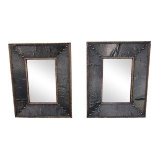Vintage Brass & Black Mirrors - A Pair